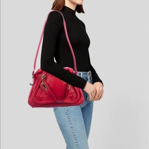 Chloé Paraty Shoulder Red Leather Bag